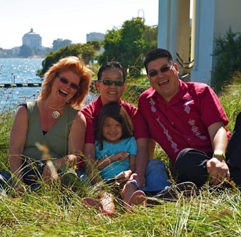 "Left to right: Lolo patient and the facility's new in-house LGBTQ program developer and staff trainer, Maya Scott-Chung; her partner, MeiBeck ""Chino"" Scott-Chung; the couple's donor, Daniel Bao; and their daughter, Luna Scott-Chung. (Photo: Courtesy Maya Scott-Chung; taken by Vaschelle Andre)"