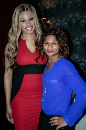 Laverne Cox, left, poses with 16-year-old Jewlyes Gutierrez at the reception following Cox's appearance at the Nourse Theatre in San Francisco. (Photo: Elliot Owen)