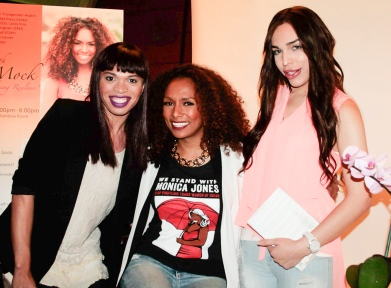 Janet Mock, center, visited with Bay Area fans Genevieve Newsome, left, and Adi Lope. (Photo: Elliot Owen)