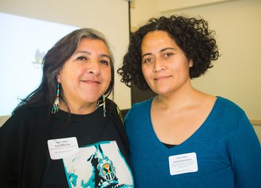 Oyate Tupu'anga project representatives Ruth Villasenor (left), chairperson of Bay Area Native American Two Spirits (BAAITS); and Loa Niumeitolu, community health advocate at Community Health for Asian Americans.