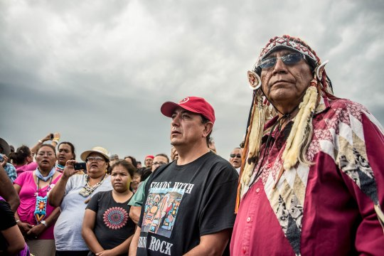 On September 9, shortly before a D.C. court denied an injunction to stop Dakota Access pipeline construction, Sioux leaders headed a march from Oceti Sakowin Camp to a pipeline construction zone, which is also a sacred burial site.