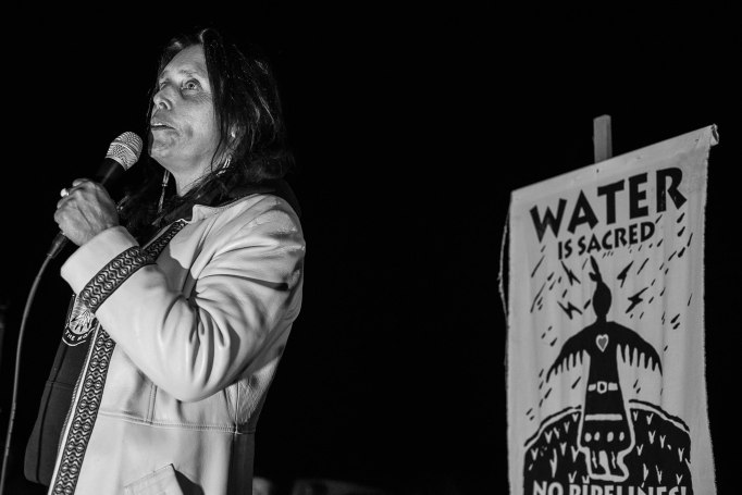"""There are two kinds of laws,"" Winona LaDuke (Ojibwe), an indigenous activist, said to campers during a concert at Oceti Sakowin Camp. ""The white man's law and the Creator's law."""